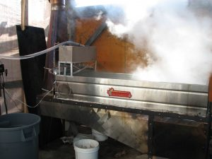 Sap boiling in the evaporator