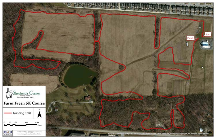 This image is an example of the path that our Annual Farm Fresh 5K takes as it winds through the beautiful property at Shepherd's Corner.
