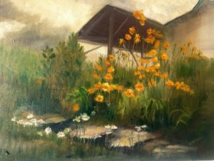 Oil painting of our back patio.