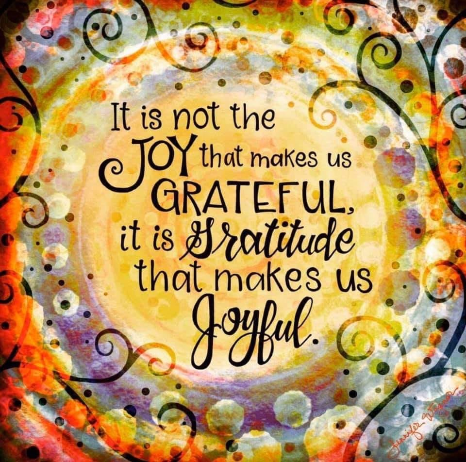 It is not the joy that makes us grateful, it is the gratitude that makes us joyful.