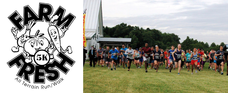 farm fresh 5k logo with image of people at the starting line of the 2019 annual race.
