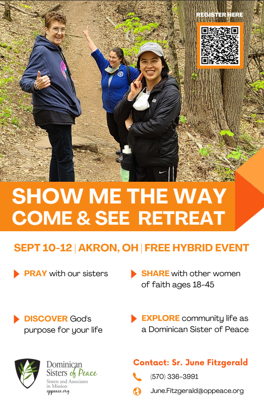 Show me the way come and see retreat flyer.  September 10th -12th in Akron Ohio.  Information on this image is contained in the text of this post.