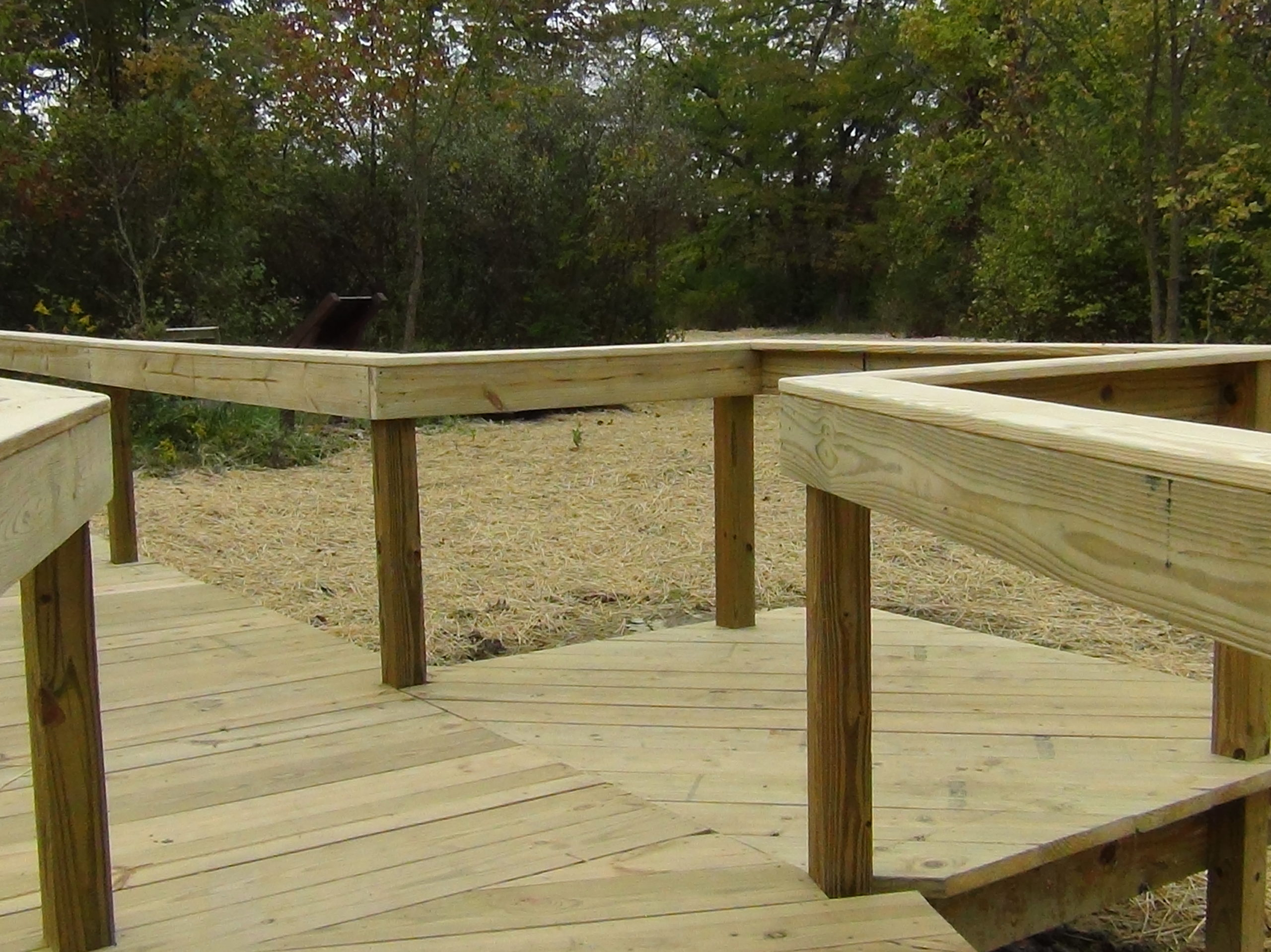 Wooden plank board walk, with hand rails. This board walk is atop the area that will be the wetland that is covered in straw.